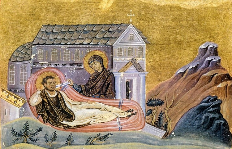 Icon depicting Romanos' vision of the Mother of God placing a scroll in his mouth, after which he composed the Nativity Kontakion: Today the Virgin gives birth to the transcendent One, And the earth offers a cave to the unapproachable One...